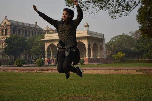 Fun, Happy, Happiness, Girl, Flying, Indian, Redfort