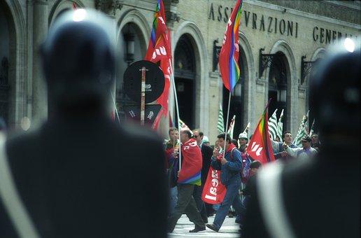 Street, Travel, Demonstration, Roma, Italy, 1995