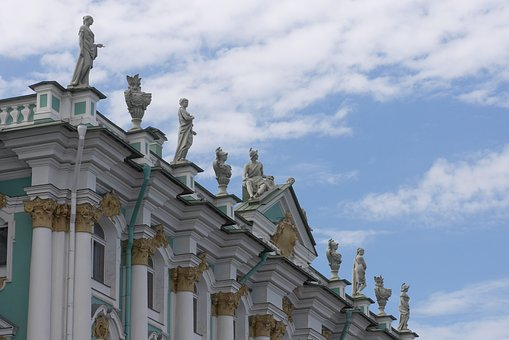 Petersburg, Winter Palace, Roof, Statue, Architecture