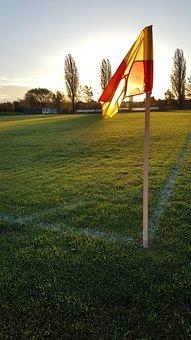 Football Field, Flag, Mark, Rush, Ball Sports