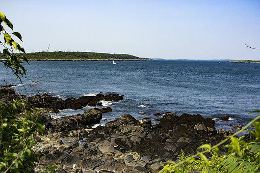 Maine, Portland, Coast, Shoreline, Shore, Sailboat, Usa