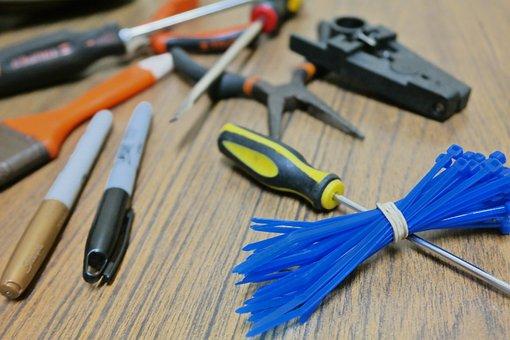 Tweezers, Screwdriver, Brush, Tools, Down, Cable Ties