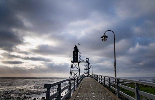 Lighthouse, Steeg, North Sea, Lake, Sea, Sunset, Water