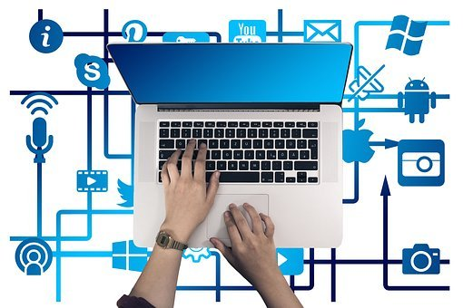 Laptop, Hand, Leave, Internet, Network, Social