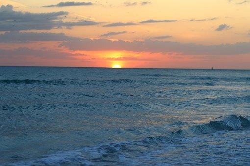 Tampa, Florida, Beach, Water, America, Tourism, Evening