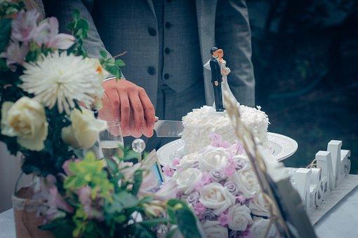 Wedding, Wedding Cake, Cutting The Cake