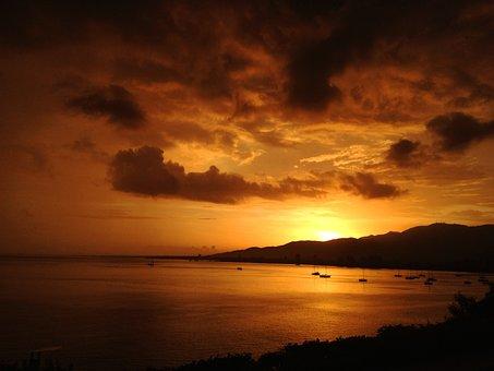 Sunset, Beach, Sea, Dusk, Sky, Shore, Waves, Backlight