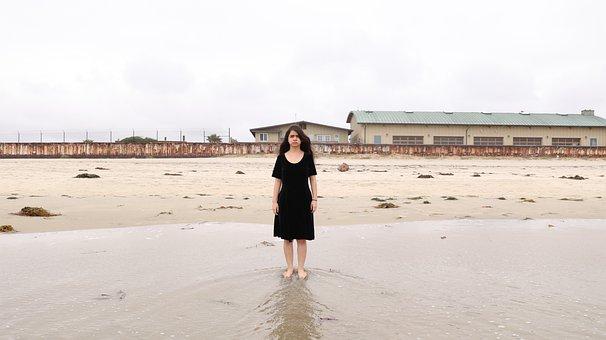 Beach, Peña, Abandoned, Person, Sad Woman, Sadness
