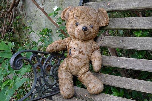 Teddy Bear, Old Teddy Bear, Bear Plush, Bear, Garden