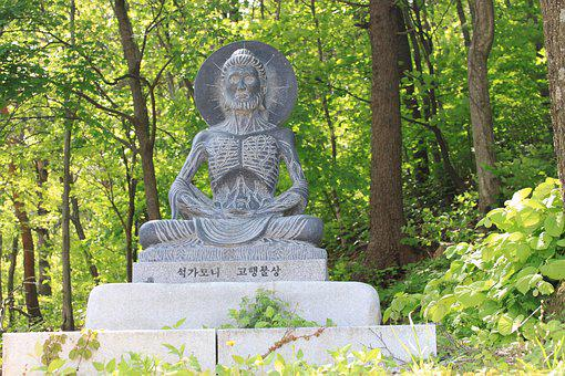 Buddha, Stone, Black, Temple, Korea, Penance