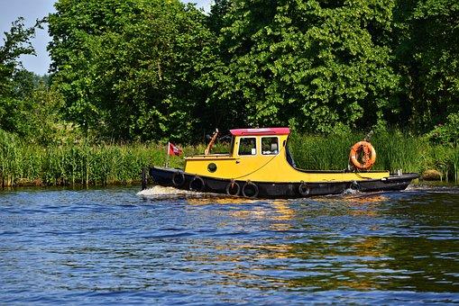 Boat, Ship, Tugboat, Tug, Tow, Haul, Transportation