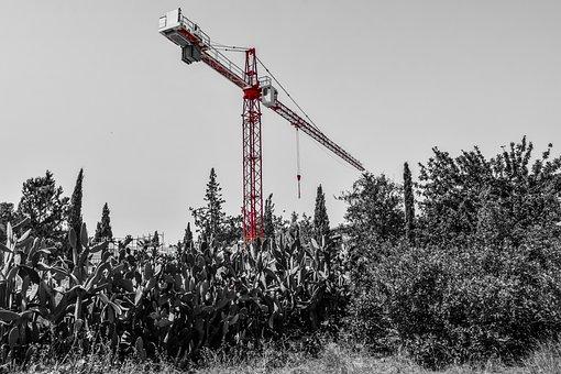 Heavy Machine, Construction Site, Red, Crane