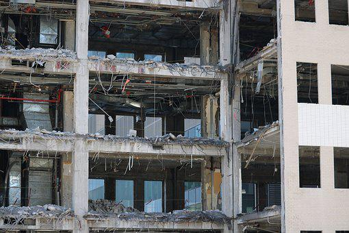 Demolition, Building, City, Pierre, Work, Crane, Brick