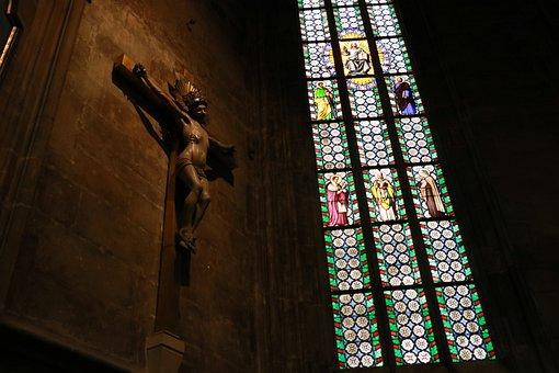 Christ, Jesus, Cross, Inri, Stained Glass Window