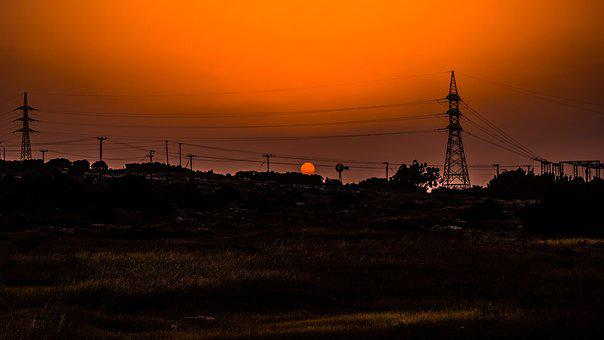 Sunset, Landscape, Pylons, Wires, Energy, Electricity
