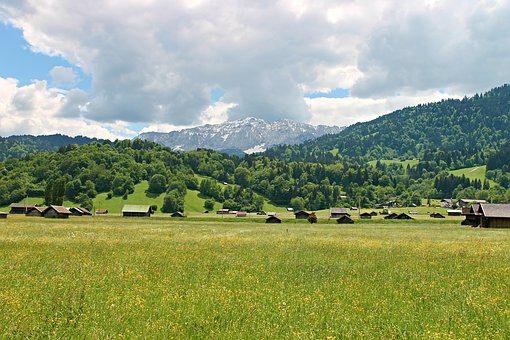 Allgäu, Landscape, Reported, Fields, Forest, Mountains
