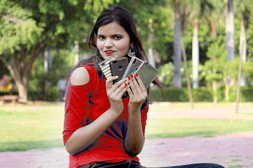 Girl With Mobile, Mobile Advertise, Mobile Image