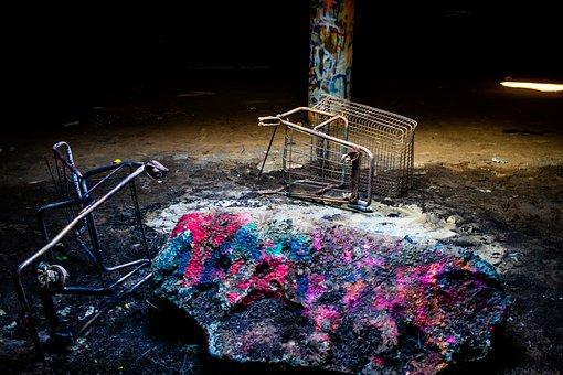 Junkyard, Disserted, Graffiti, Abandoned, Rock, Dirty