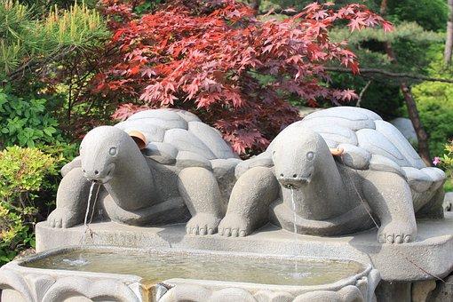 Water, Fountains, Stones, Temple, Granite Sculpture