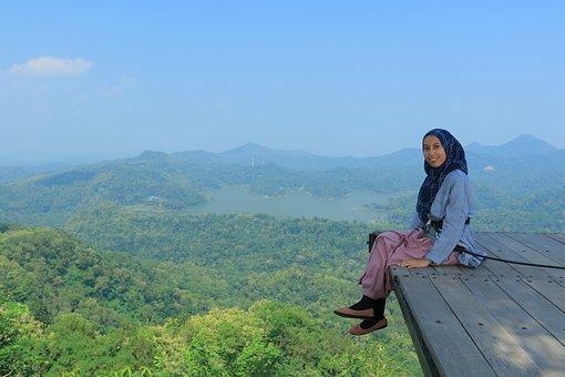 View, Wonderful, Green, Lake, Indonesia, High