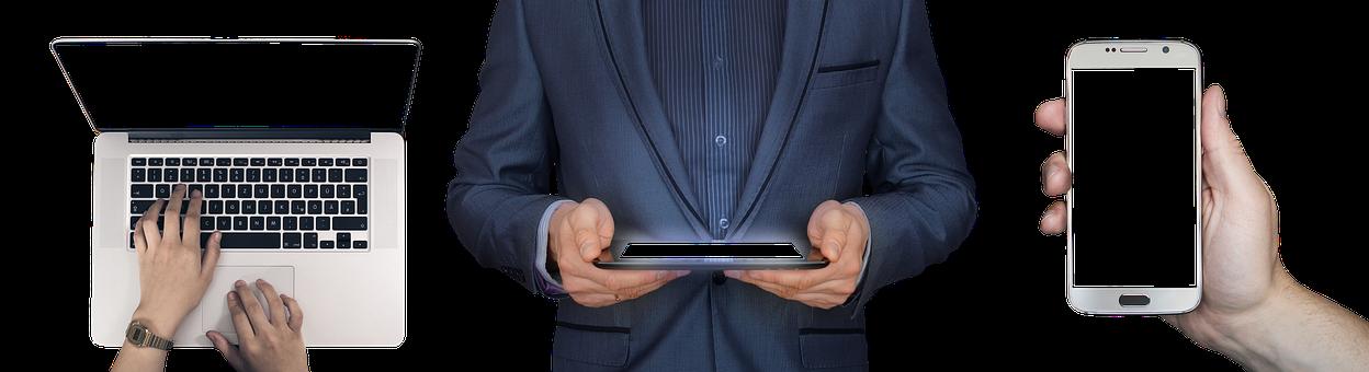 Laptop, Tablet, Smartphone, Hand, Leave, Internet