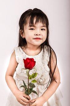 Girl, Rose, Flower, Love, Happy, Model, White, Dress