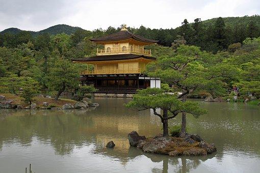 Temple, Golden, Kyoto, Ancient, Buddhist, Landmark