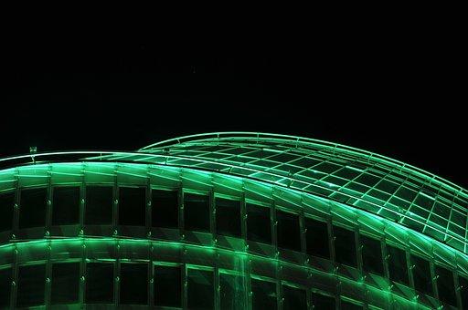 Building, Night, Architecture, Urban, Light, Town