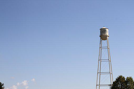 Water Tower, Small Texas City, Next To Sugar Factory