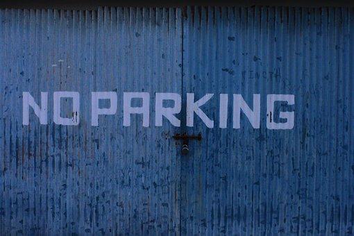 No Parking, Blue, Sign, Warning