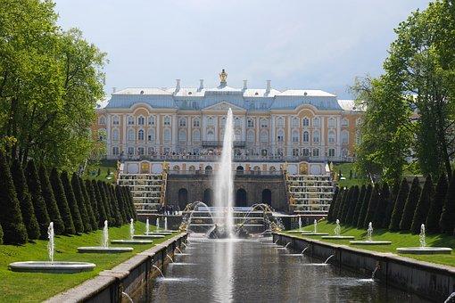 Peterhof, Russia, Park, Castle, Fountain