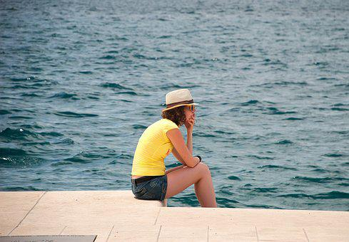 Girl, Sea, Summer, Sitting, Sorrow