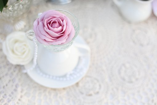 Tea Party, Rose, Tea Cup, Doily, Vintage, Card