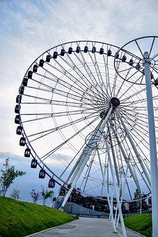 Wheel Of Fortune, Amusement Park, Lights, City