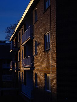 Sunset, Blue, Yellow, Brick, Building, Apartment