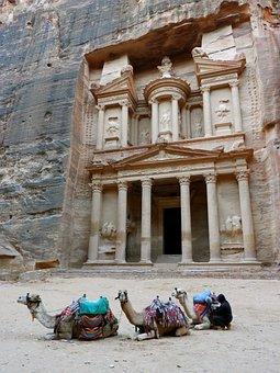 Petra, Jordan, Camel, Archeology, Unesco, Canyon