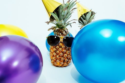 Pineapple, Pineapples, Party Hats, Party, Balloons