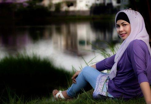 Asian Women, Beautiful, Hijab, Natural