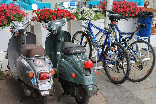 Moped, Mopeds, Bike, Bicycles, Flowers, Ukraine, Odessa
