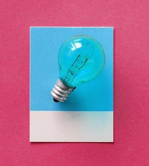 Blue, Bulb, Card, Colorful, Creative, Creativity