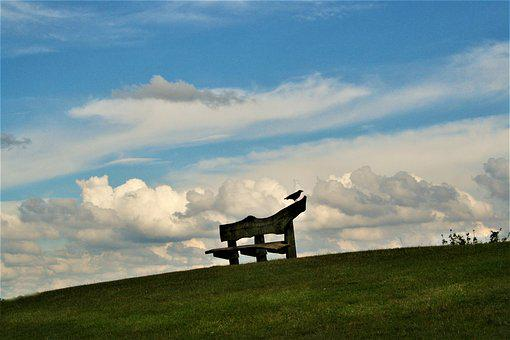 Park, Landscape, Seat, Clouds, Peaceful