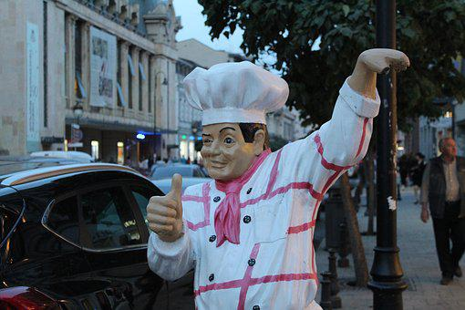 Chef, Chef Statue, Restaurant, Cook, Food