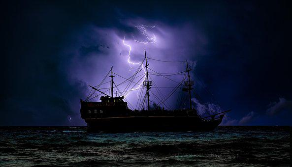Pirate Ship, Dark, Night, Storm, Lightning, Adventure