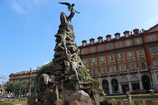 Torino, Turin, Fountain Frejus, Area