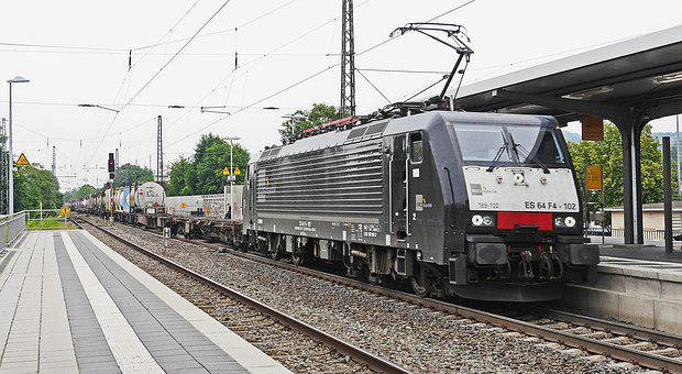 Container Train, Freight Train, Gleise, Seemed