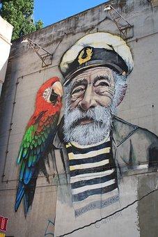 Graffiti, Picture, Salt, Sailor, Parrot, Ukraine