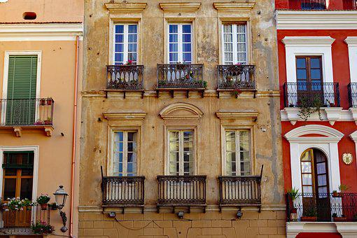 Sardinia, Iglesias, Homes, Facades