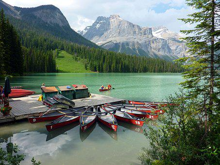 Canada, Canoe, Landscape, Mountains, Nature, Water