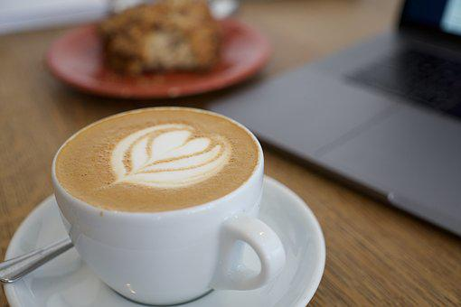 Coffee, Cappuccino, Bakery, Laptop, Food, Pastry, Cup