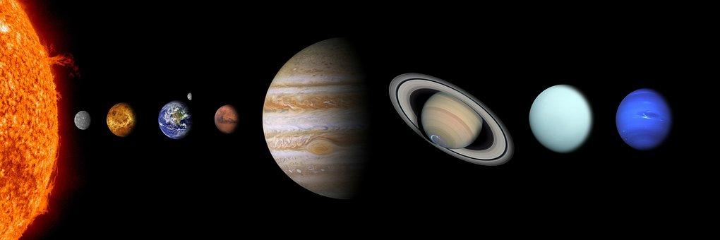 Solar System, Sun, Mercury, Venus, Earth, Mars, Jupiter